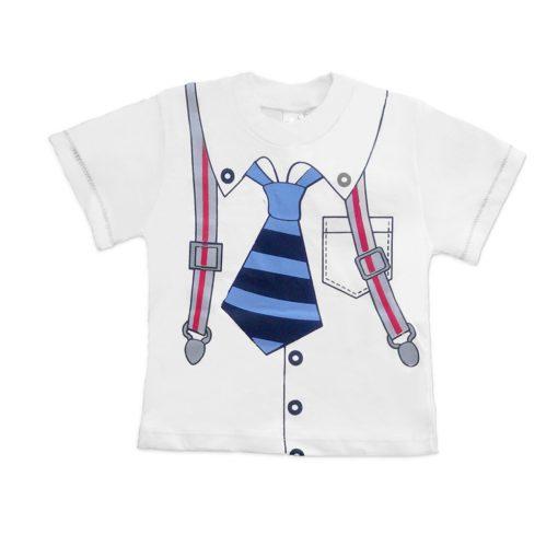 Babypakje wit shirt stropdas met stoere jeans broekje