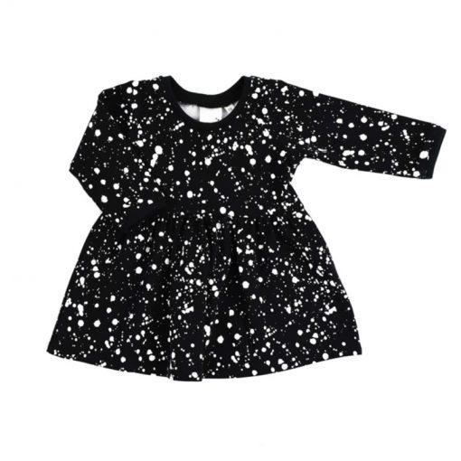Zwarte-jurk-met-witte-verf-spatten