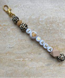 Sleutelhanger met naam leopard - roze