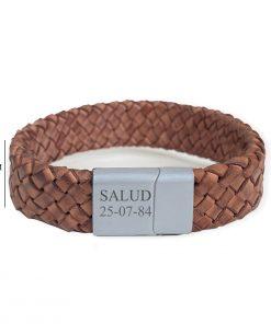 Brede bruine leren armband met naam