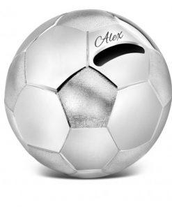 Verzilverde voetbal spaarpot met naam